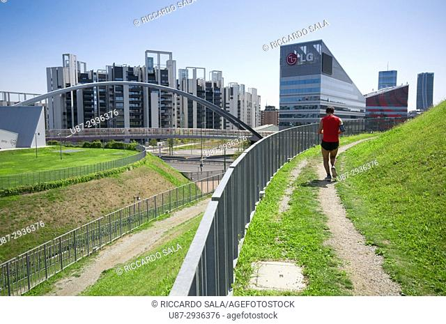 Italy, Lombardy, Milan, Portello District, Runner