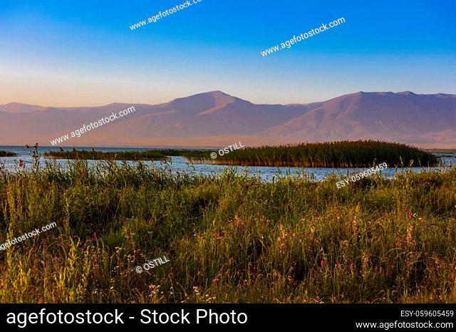 Lake Sevan at sunset near Vardenis landmark of Gegharkunik Armenia eastern Europe