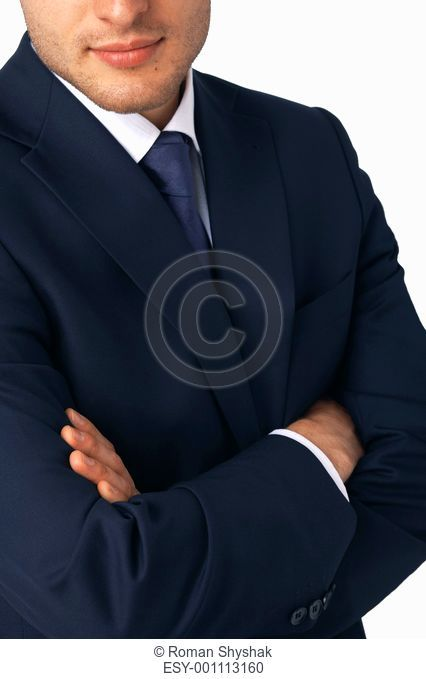 Closeup of a business man's hands folded