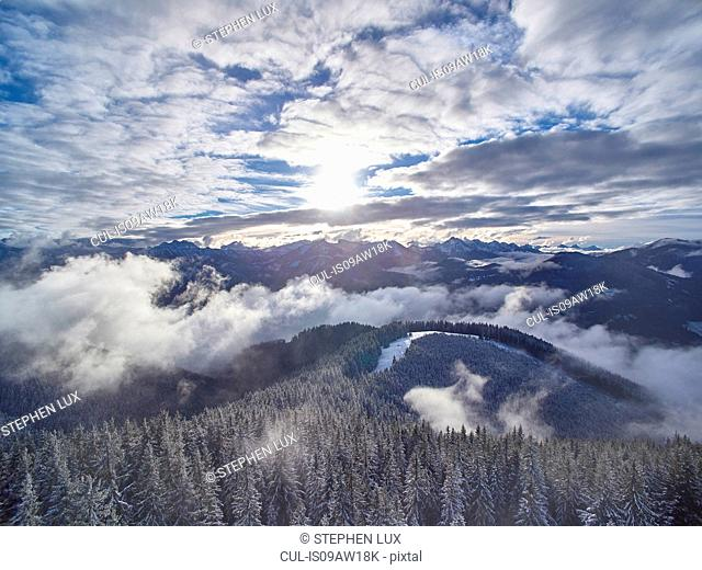 High angle view of misty mountain forest landscape, Ammergauer Alps, Oberammergau, Bavaria, Germany