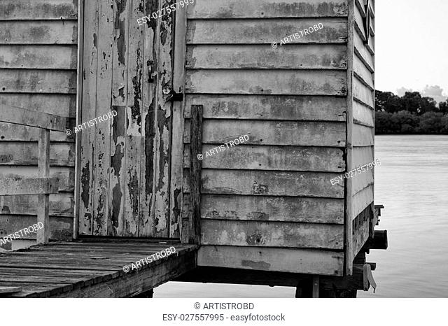Maroochy River Boat House in the late afternoon in Maroochydore, Sunshine Coast. Black and White image