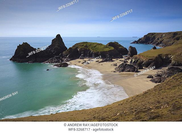 A view from the cliff top of Kynance Cove on Cornwall's Lizard Peninsular. The image was captured in mid March, when the ebb of a spring tide revealed the sand...