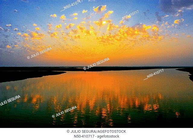 Marshes of Odiel river at sunset. Huelva province, Andalusia, Spain