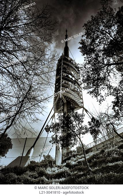 Telecommunications tower designed by Norman Foster architect. Collserola park, Barcelona, Catalonia, Spain