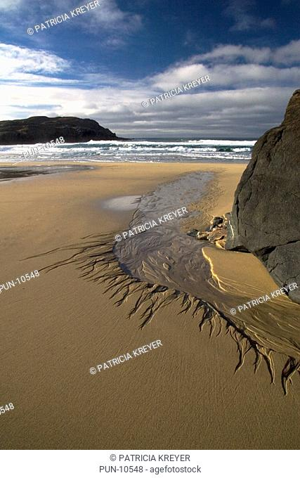 Sand pattern formed by outgoing tide on Dahl Mor beach Isle of Lewis, Outer Hebrides, Scotland