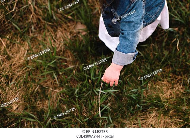 Young girl picking grass in field, elevated view