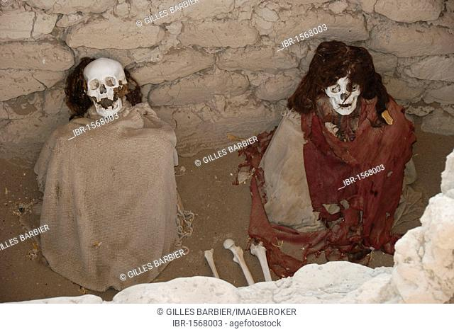 Mummies of the Ica-Chincha culture, Chauchilla Cemetery, Nasca or Nazca, Peru, South America