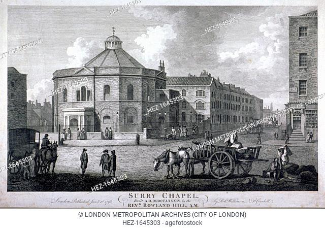 Surrey Chapel, Blackfriars Road, Southwark, London, 1798. View with figures transporting cargo between the street and a horse and cart