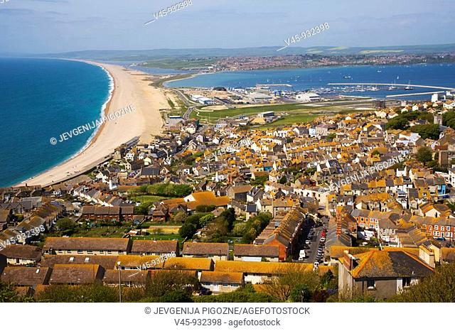 Chesil beach. Fleet lagoon and Portland harbour looking north from Portland Heights. Dorset. England. UK