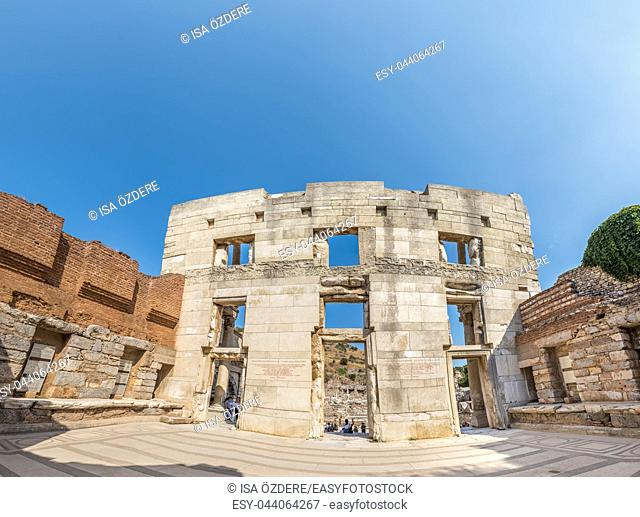 People explore Ancient Celsus Library at Ephesus historical ancient city, in Selcuk, Izmir, Turkey. 20 August 2017. High Resolution panoramic view