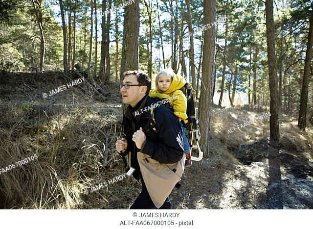 Father hiking in woods with baby daughter in backpack carrier
