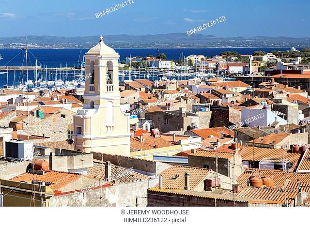 Waterfront cityscape, Carloforte, Isola di San Pietro, Italy