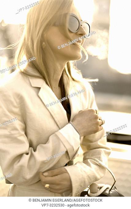 fashionable blogger woman, in Munich, Bavaria, Germany