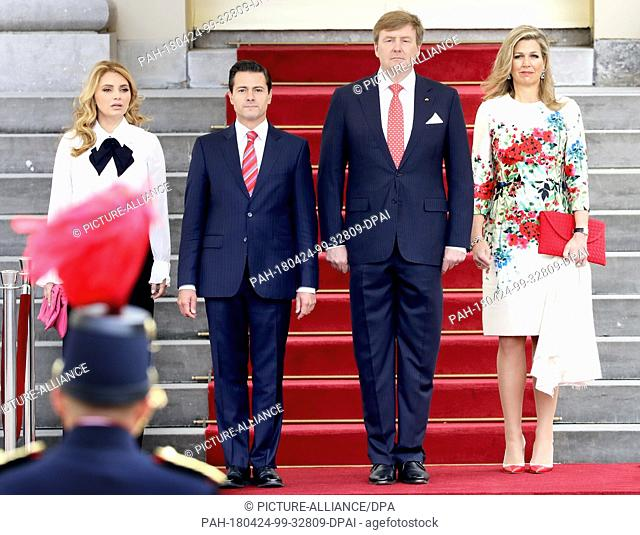 King Willem-Alexander and Queen Máxima of The Netherlands, the President of Mexico, Enrique Peña Nieto and his wife Angélica Rivera de Peña at Palace Noordeinde...