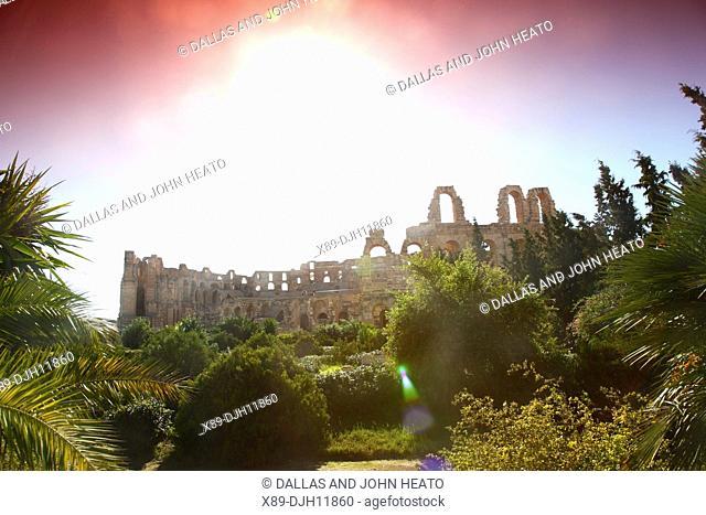 Africa, Tunisia, El Djem, Ancient Thysdrus, Roman Ruins, Colosseum, Exterior of Amphitheatre