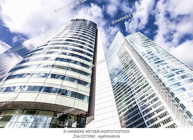 Melia Paris La Défense and Euler Hermes Headquarters, skyscrapers of La Défense, Europe's largest purpose-built business district, Paris, France