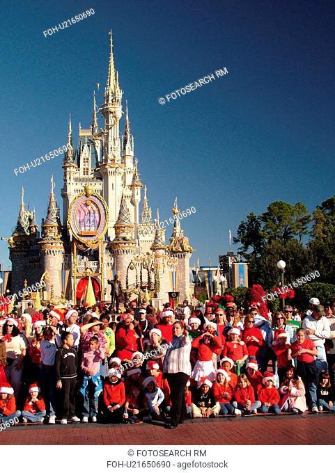 Orlando, FL, Florida, Walt Disney World Resort, Magic Kingdom Park, Cinderella Castle, Christmas (Editorial Use Only)