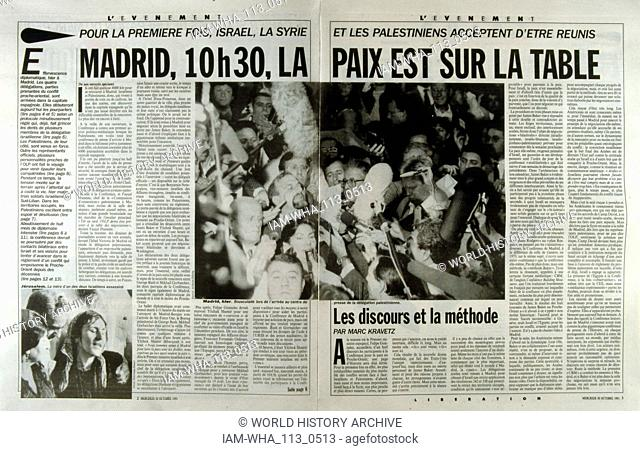 French publication 'L'Evenement' reporting on the Madrid Conference; a peace conference, held from 30 October to 1 November 1991 in Madrid