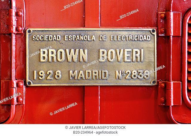 Brown Boveri sign, train at museum of railway history. Azpeitia. Guipúzcoa, Euskadi. Spain