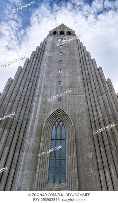 Tower of Hallgrimskirkja Church or Cathedral of Reykjavik on Iceland