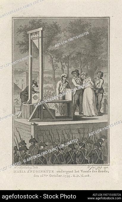 Marie Antoinette is brought to the guillotine, 1793, Marie Antoinette is brought to the guillotine on October 16, 1793 at Place de la Révolution (nowadays Place...