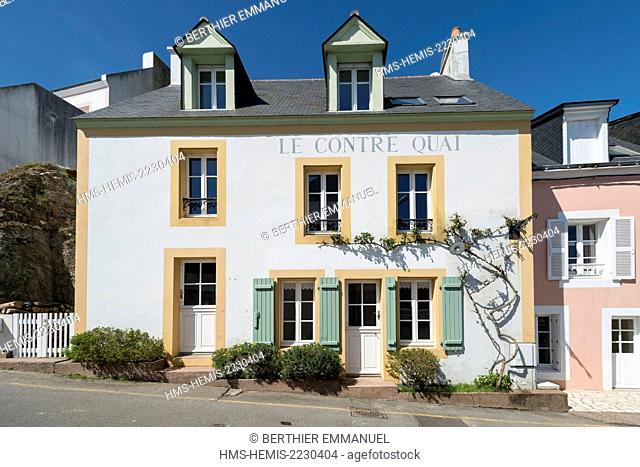 France, Morbihan, Sauzon, colored house
