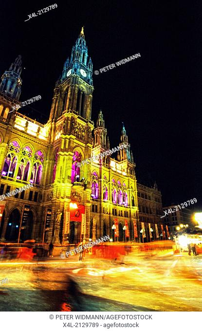 city hall at night, Austria, Vienna