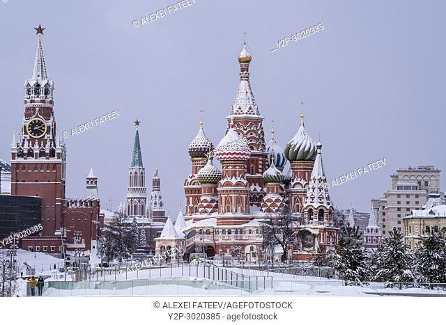 St. Basil Cathedral on a snowfall. Moscow, Russia
