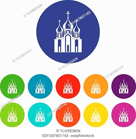 Church building set icons in different colors isolated on white background