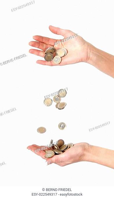 Hände mit Münzen