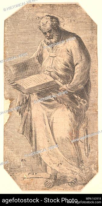 Saint Peter holding a large open book, keys by his side, from 'Christ and the Apostles'. Series/Portfolio: Christ and the Apostles; Artist: Andrea Schiavone...