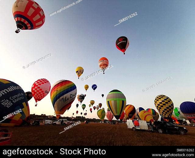 Take-off of hot air balloons during participation in the XXI Fai Europeans Hot Air Balloon Championship 2019