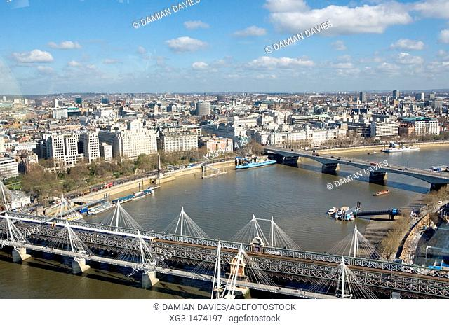 View from the London Eye across London, England