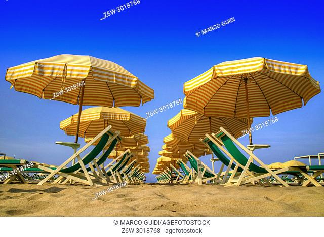 View of the equipped beach in Viareggio, Italy