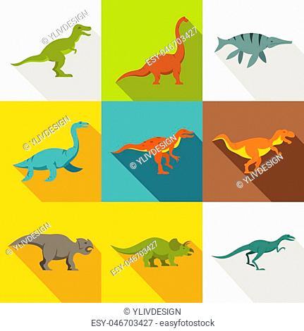 Dinosaur icon set. Flat style set of 9 dinosaur vector icons for web design