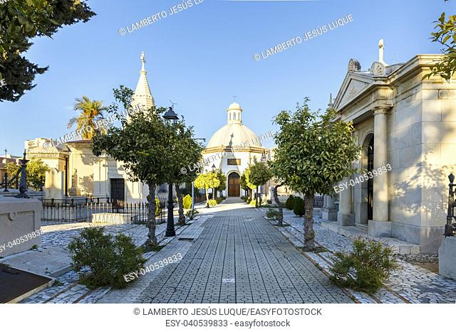 Chapel and mausoleums in a cemetery in Malaga Spain
