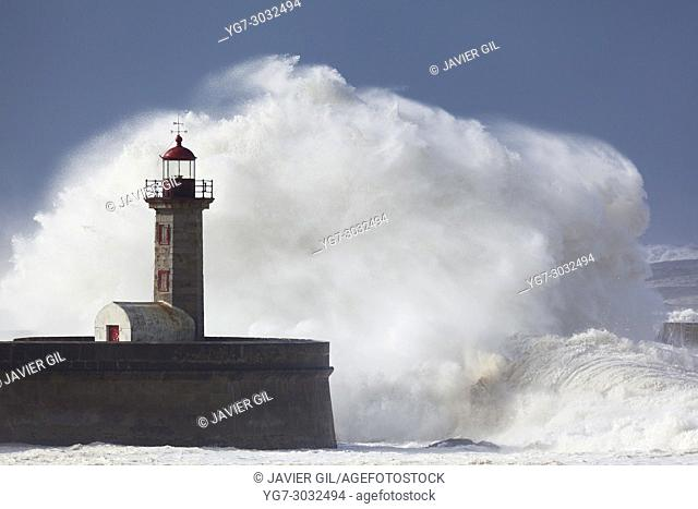 Heavy sea in the lighthouse of Porto, Portugal