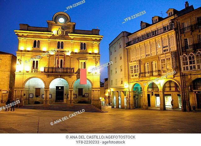 Main square Orense old city at dusk Galicia Spain