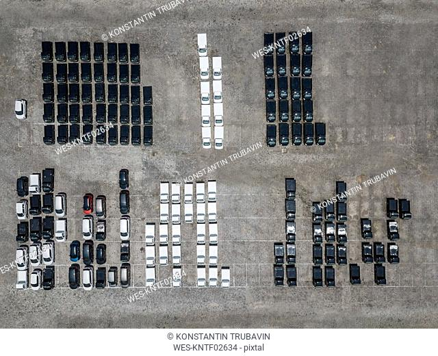 Indonesia, Bali, Aerial view of car park, black and white