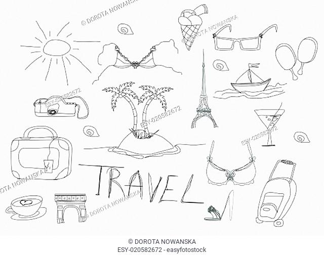 Hand drawn travel doodles. Vector illustration
