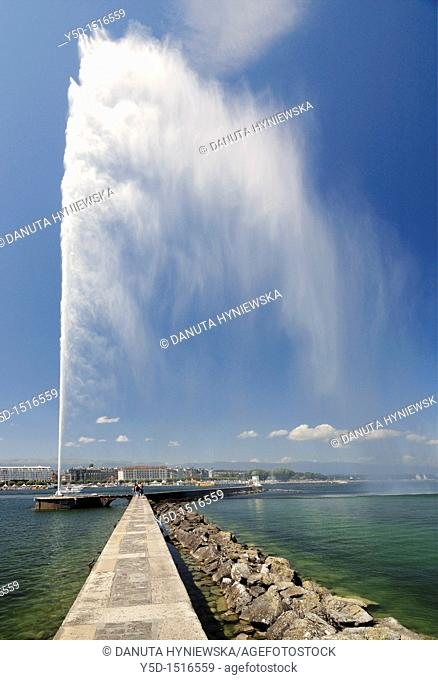 Geneva, Switzerland, famous fountain on the Geneva Lake called Jet d'Eau
