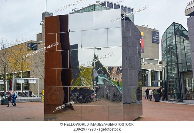Mirror cube (Calvin's Mecca) by Aziz Bekkaoui (2009), and the Van Gogh Museum, Museumplein (Museum Square), Amsterdam, Holland