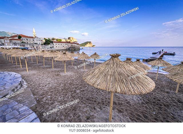 Beach next to Old Town of Budva city on the Adriatic Sea coast in Montenegro