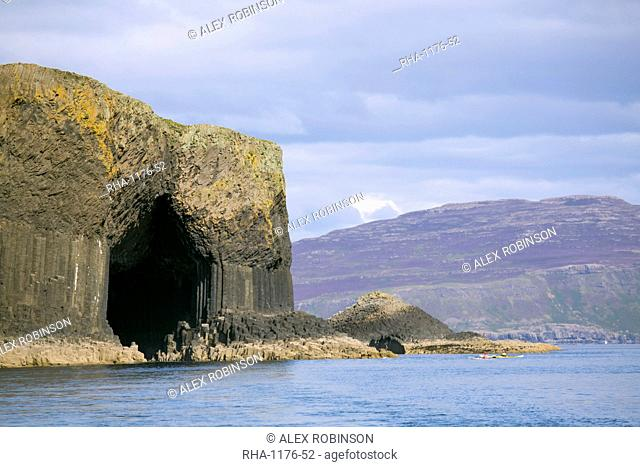 The mouth of Fingal's Cave, Staffa Island, with Mull in the distance, Inner Hebrides, Scotland, United Kingdom, Europe