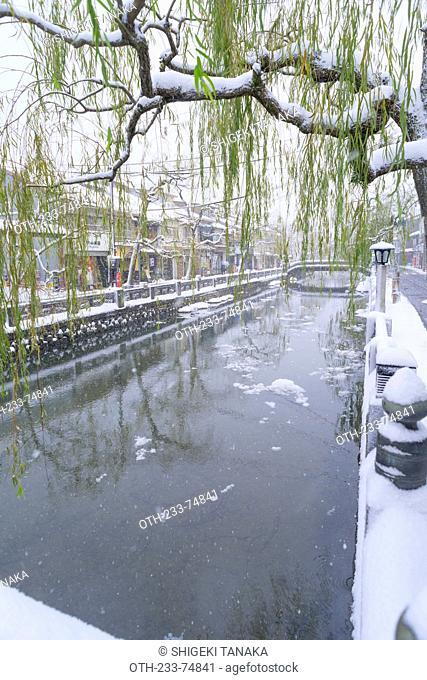 Snow on Otani river, Kinosaki Onsens (Hot springs) in winter. Kinosaki Hyogo Prefecture, Kansai, Japan