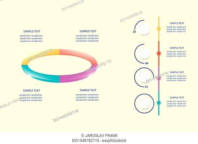 Infographic of colorful ellipse divided into 4 parts showing process and steps. The vertical timeline is ready to show quarterly performance developments