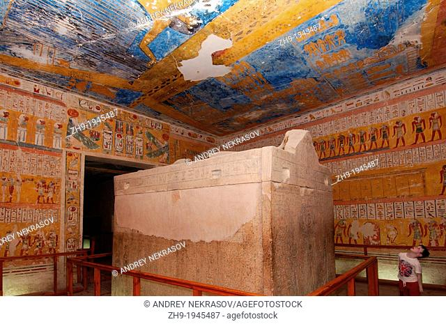 The Interior of Ramesses IV's KV2 royal tomb, East Valley of the Kings, Luxor (Thebes), Egypt, Africa