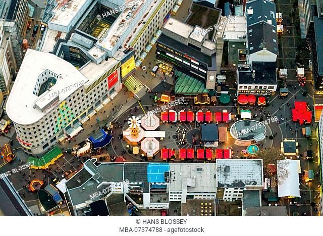 Dr-Ruer-Platz with Christmas market, aerial view of Bochum, Ruhr area