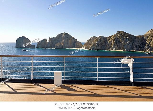 Cruise Ship deck and Lovers Beach, Cabo San Lucas, Baja California, Mexico