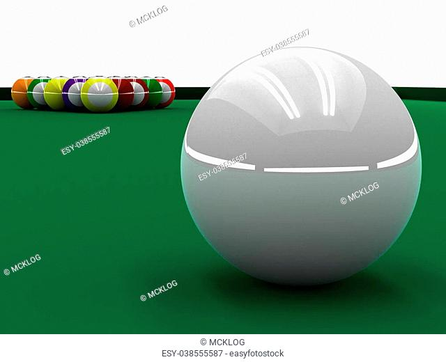 A render of a white ball placed to play pool